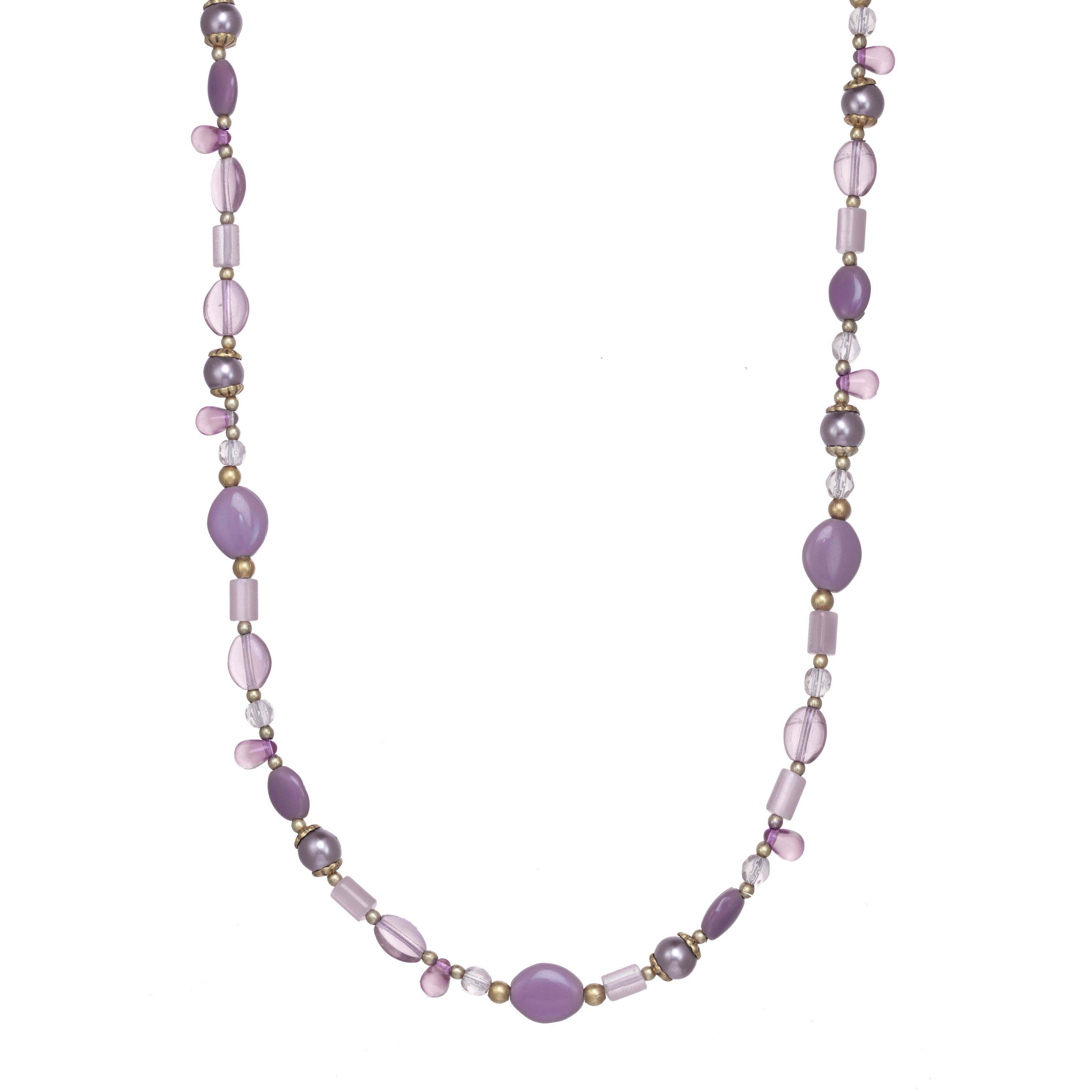 Lilac Long Beaded Necklace