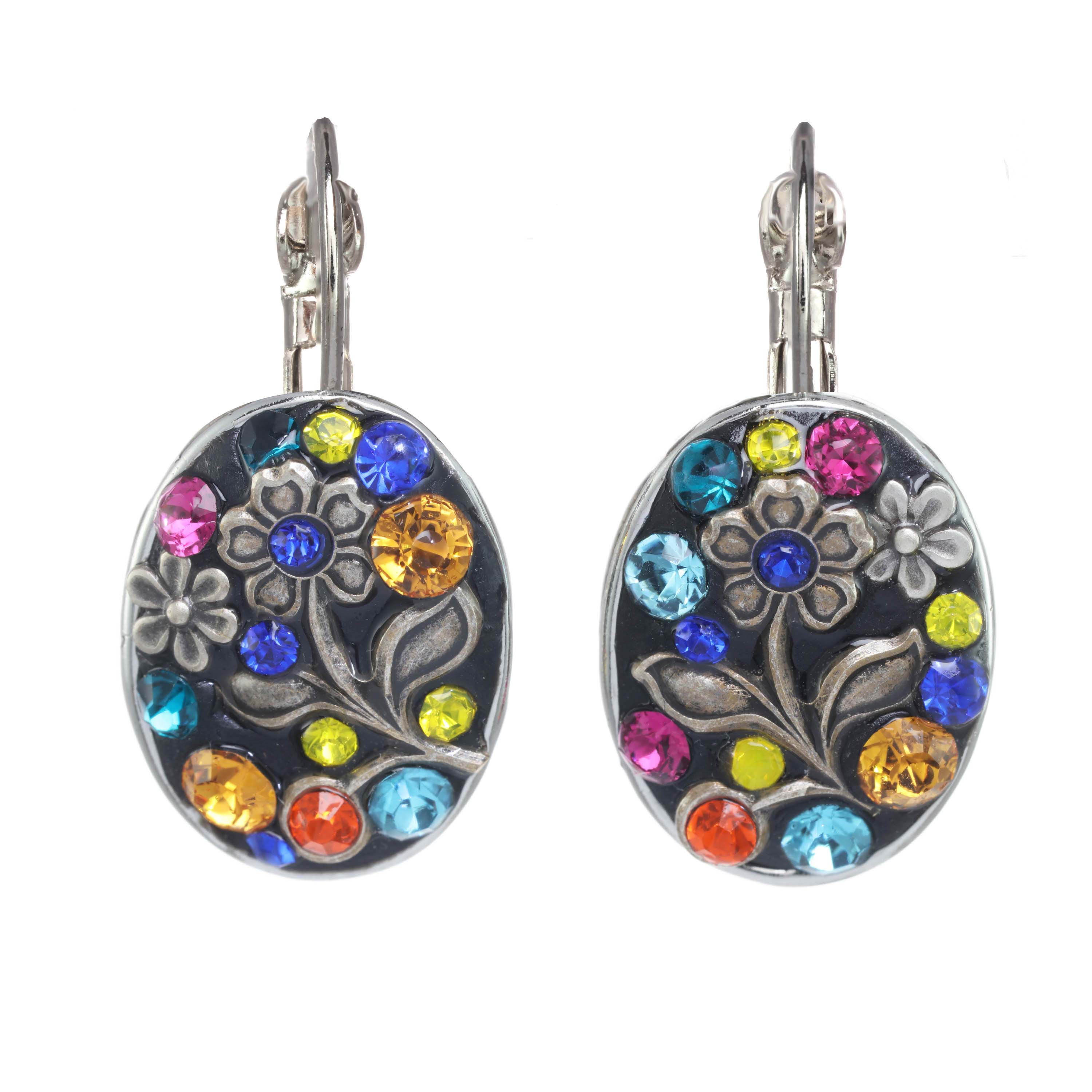 Prismatic Floral Oval Earrings