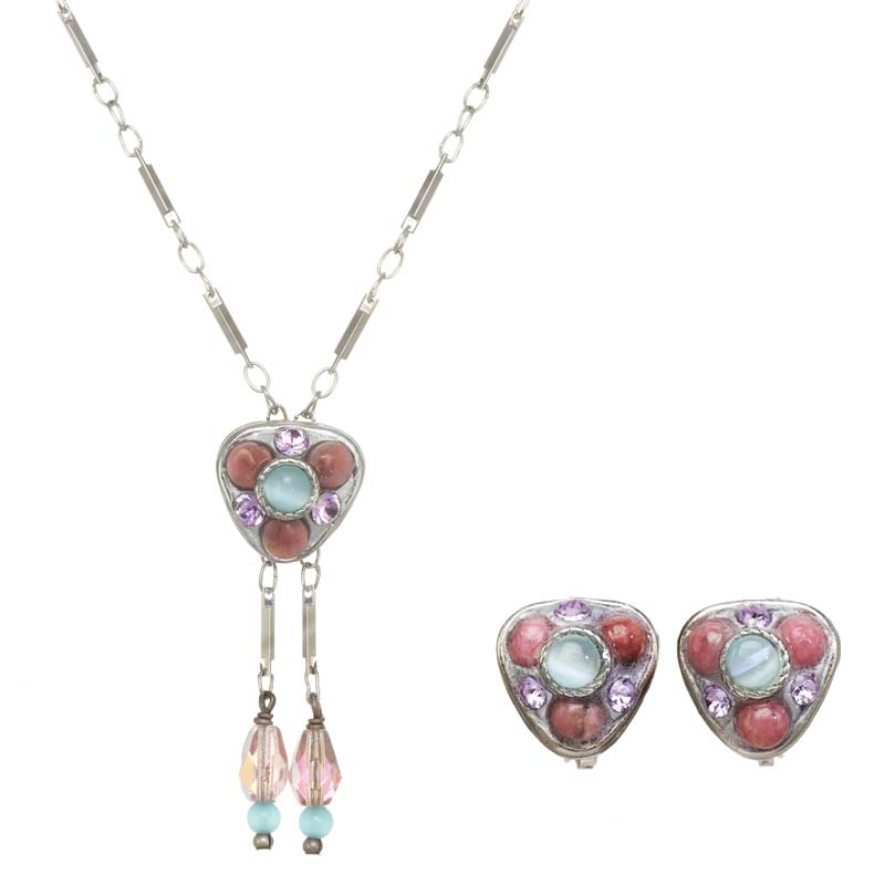 Pink & Blue Clip Earrings & Necklace Set