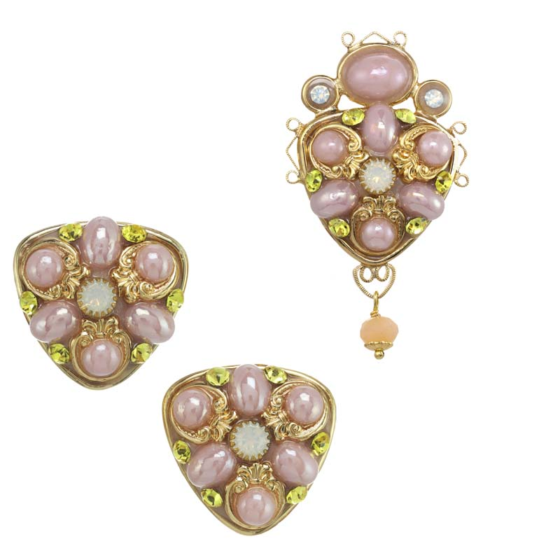 Pink and Gold Clip Earring and Brooch Set