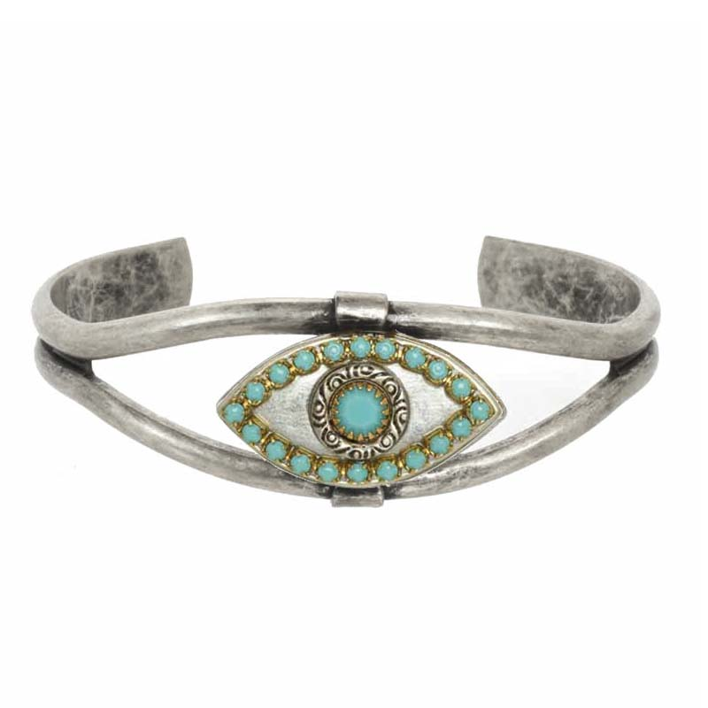 Silver and Turquoise Evil Eye Cuff Bracelet