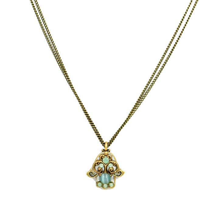 Aqua Green Hamsa Necklace