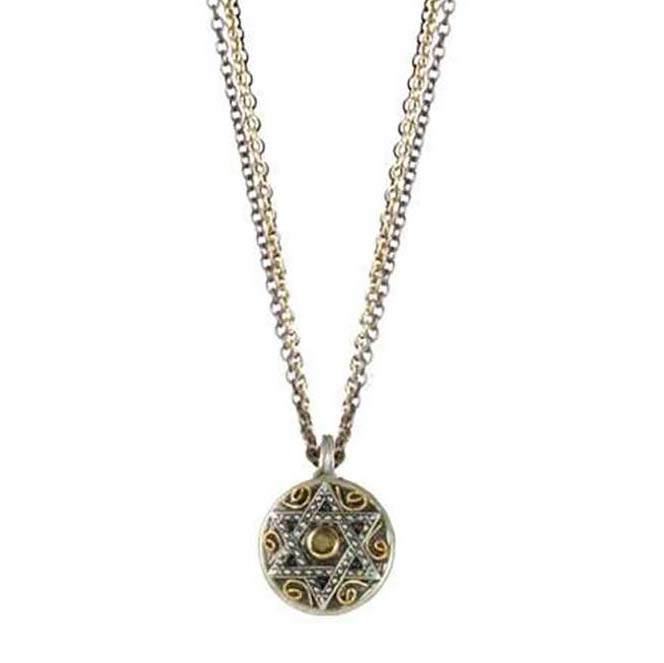 Silver star of david pendant on triple chain necklace