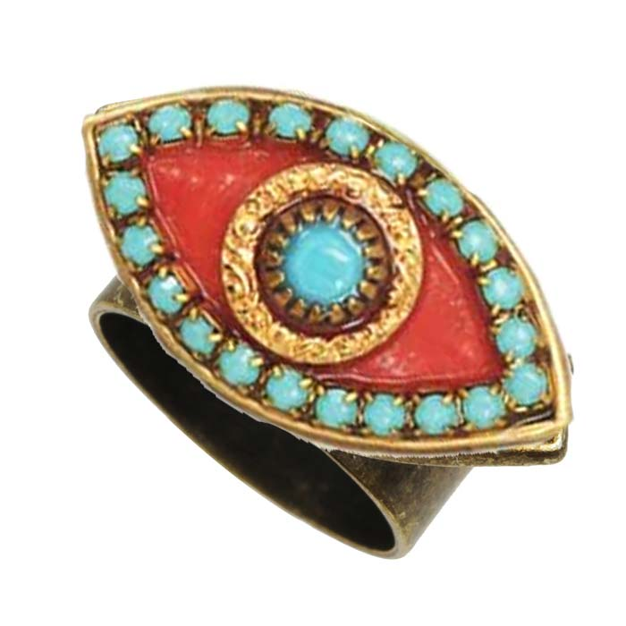 Coral and Turquoise Eye Ring