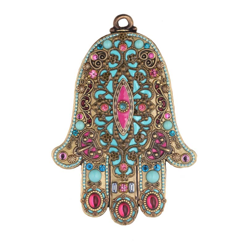 Light Blue & Fuschia Wall Hamsa