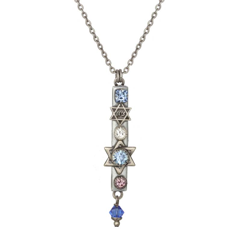 Ice Crystals Mezuzah Necklace
