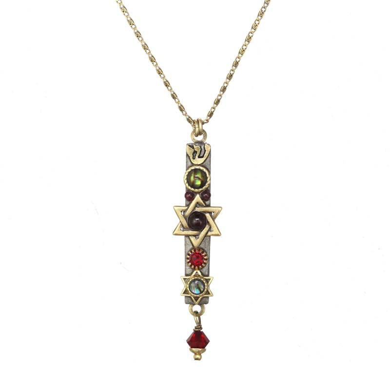 Garnet and Abalone Mezuzah Necklace