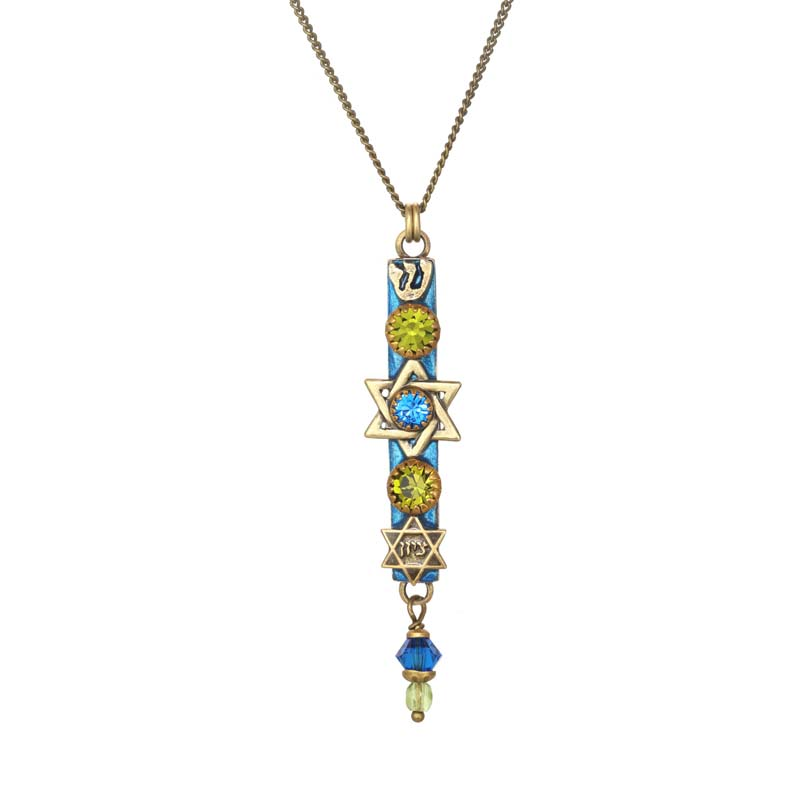 Green and Blue Mezuzah Necklace