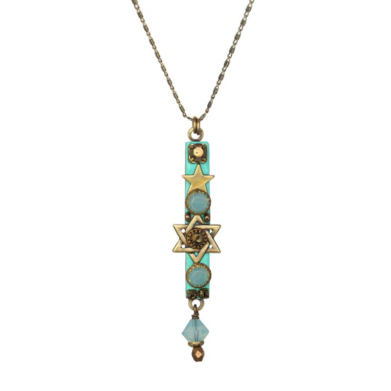Aqua Mezuzah Necklace