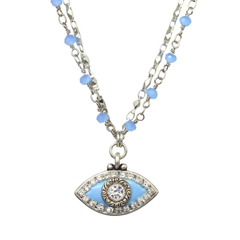Ice Blue Eye Necklace