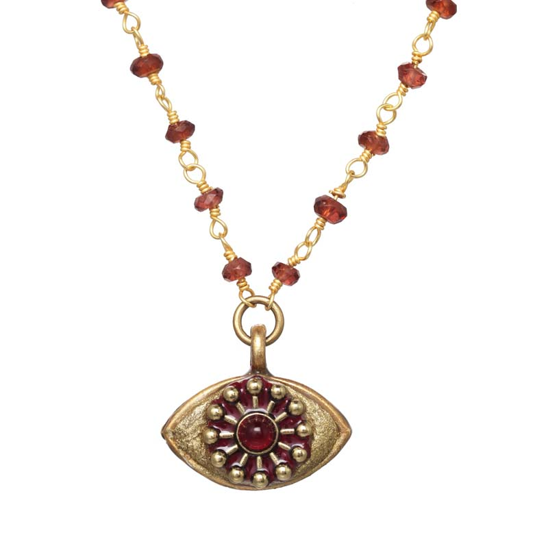 Gold and Garnet Eye Necklace