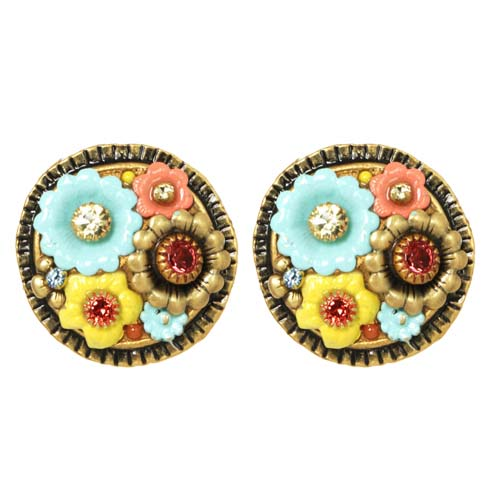 Pastel Floral Circle Earrings