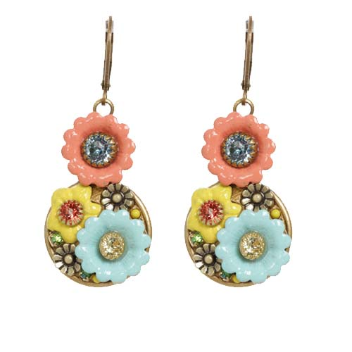 Pastel Floral Double Circle Earrings