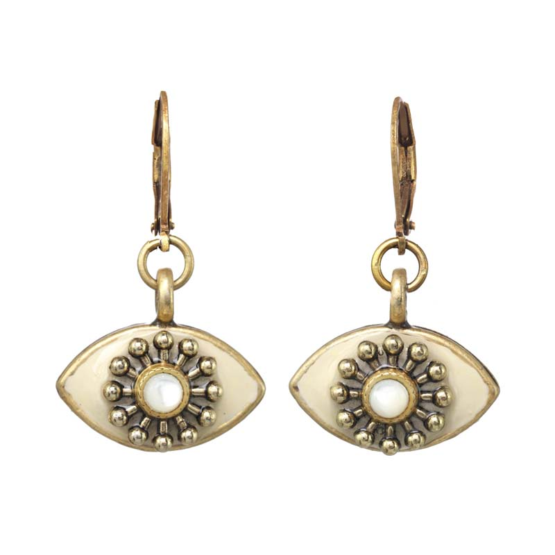 Ivory Pearl Eye Earrings