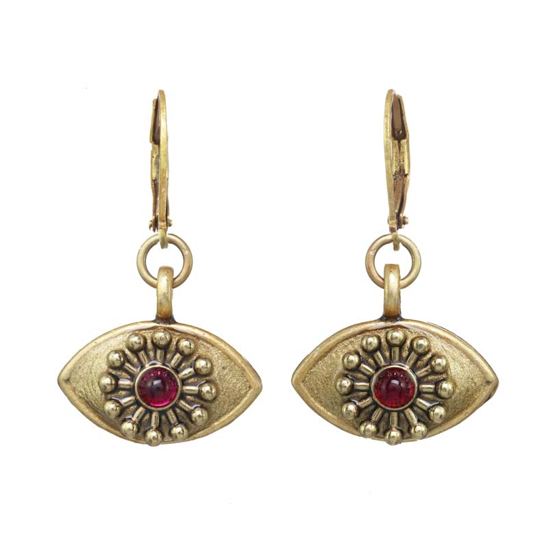 Gold and Garnet Eye Earrings