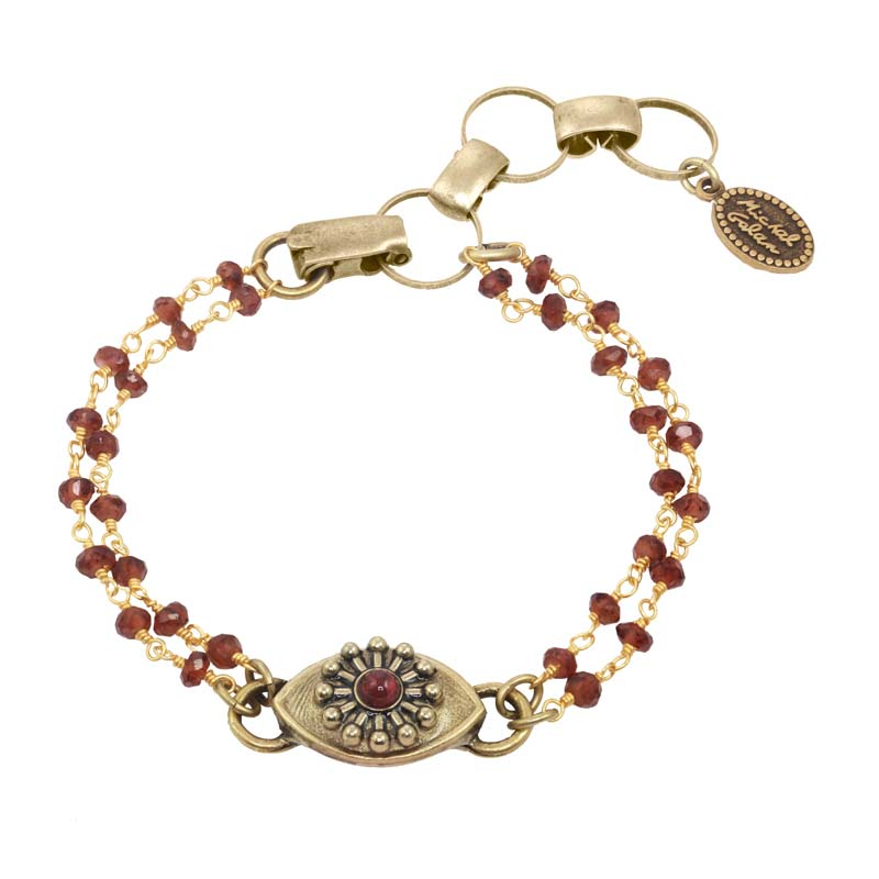 Gold and Garnet  Eye Bracelet