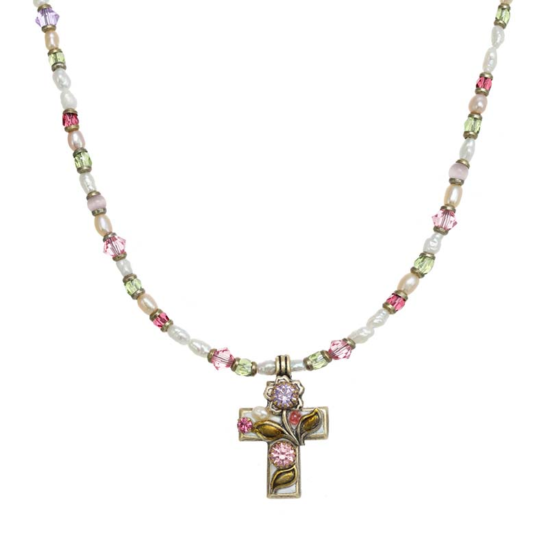 Pearl Blossom Cross Necklace