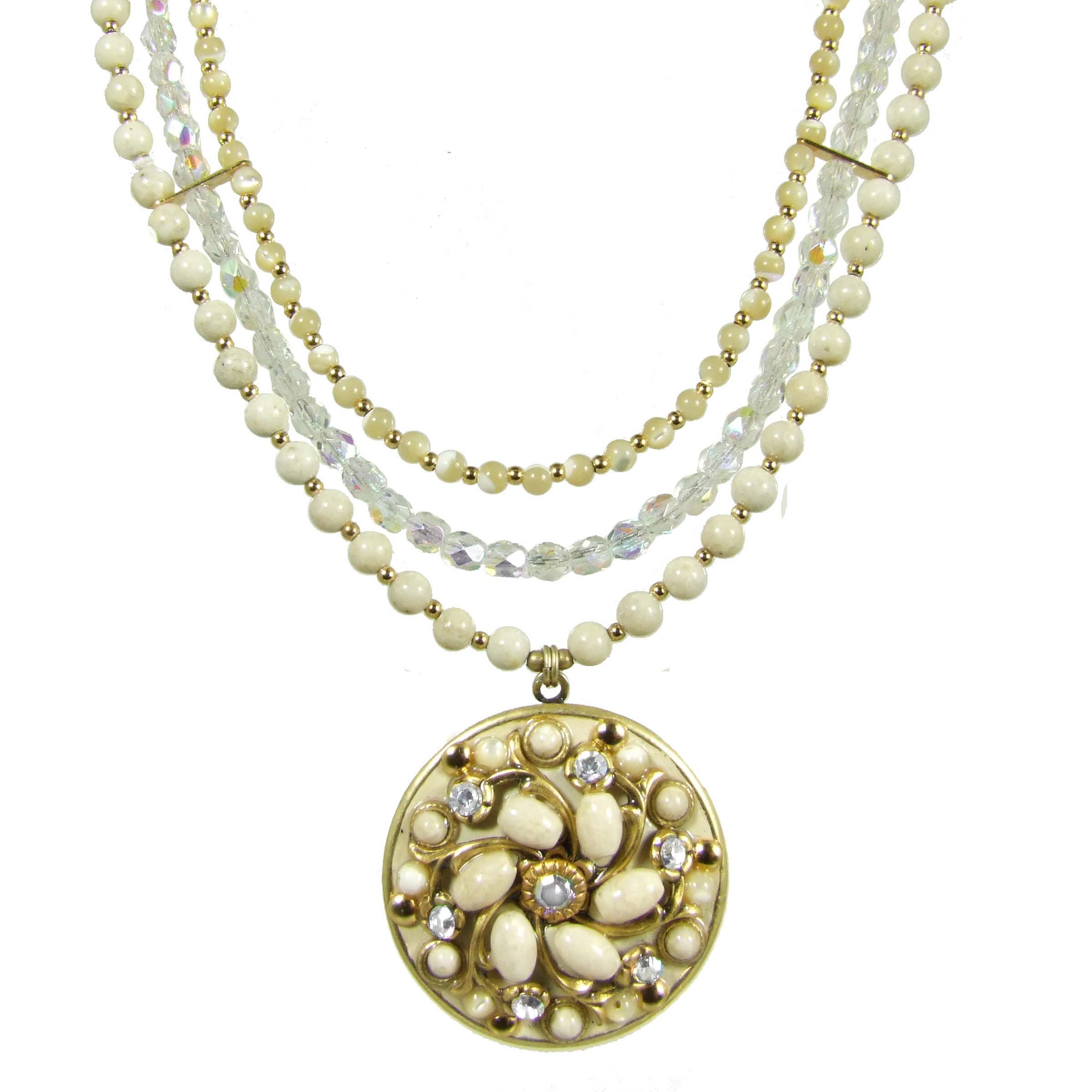 Riverstone Circle Triple Beaded Necklace