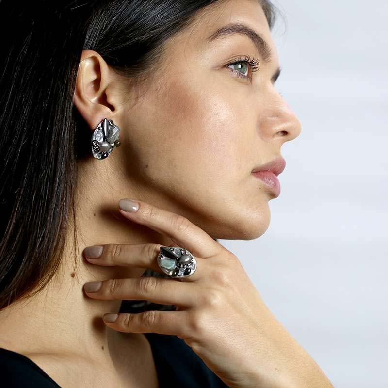 Iceberg Clip Earrings and Ring Set