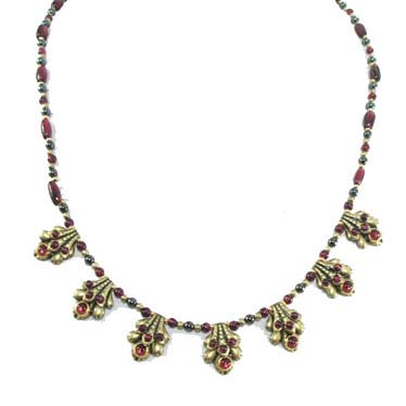Garnet Scalloped Necklace