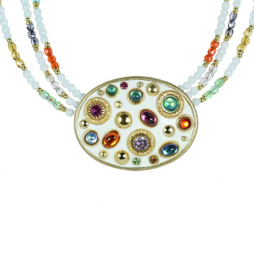 Aurora Oval Beaded Necklace