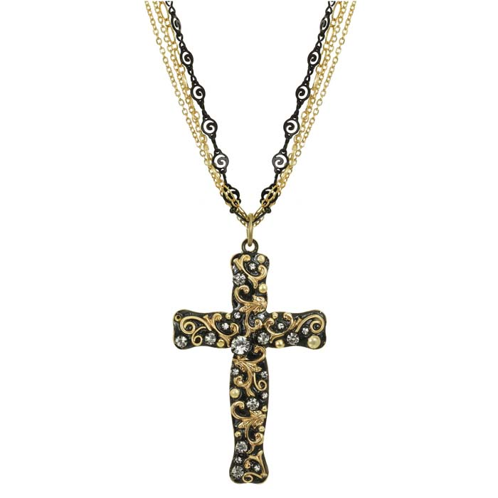Black and Gold Long Cross Necklace