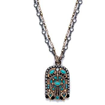 Gold and Turquoise Hamsa Necklace