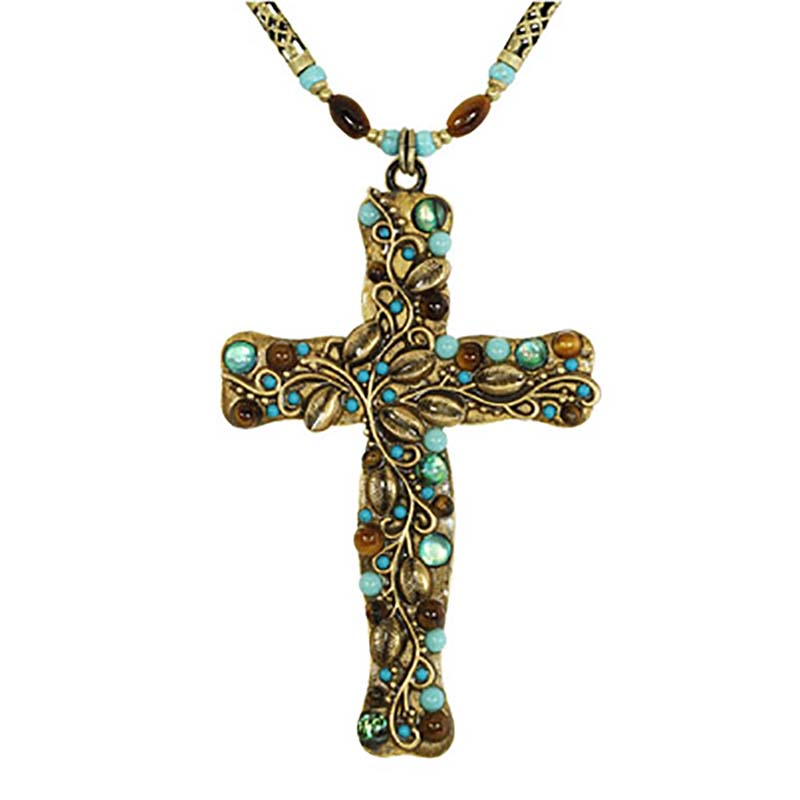 Gemstone Forest Cross Necklace