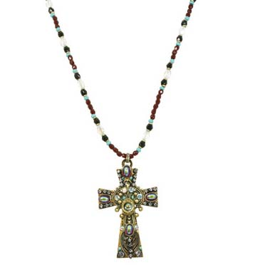 Dark Iridescent Cross Necklace