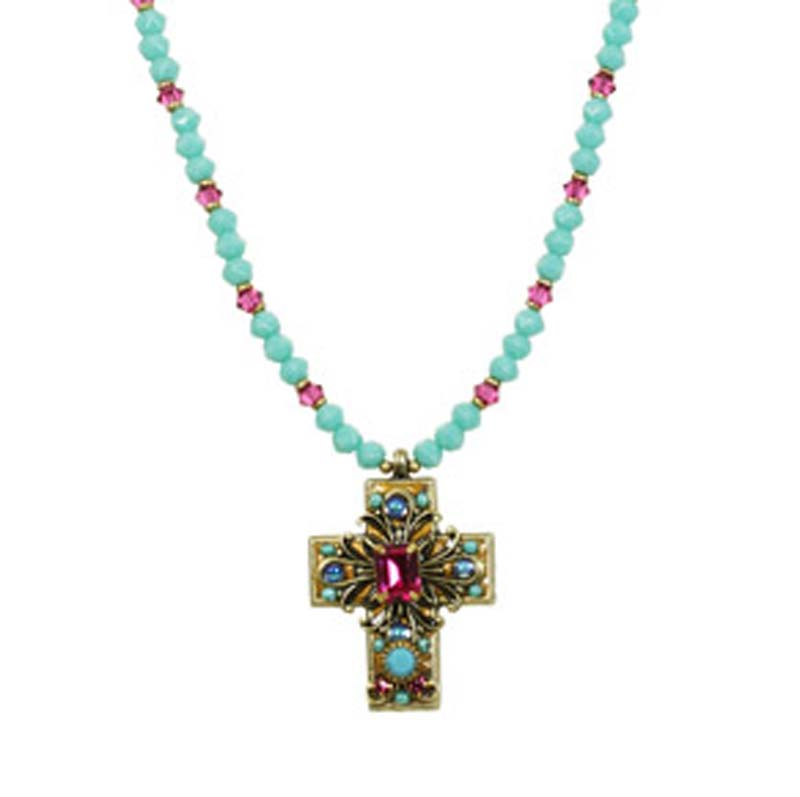 Medium Turquoise and Magenta Cross Necklace