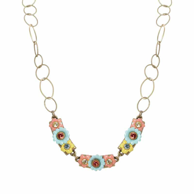Pastel Floral Bar Necklace