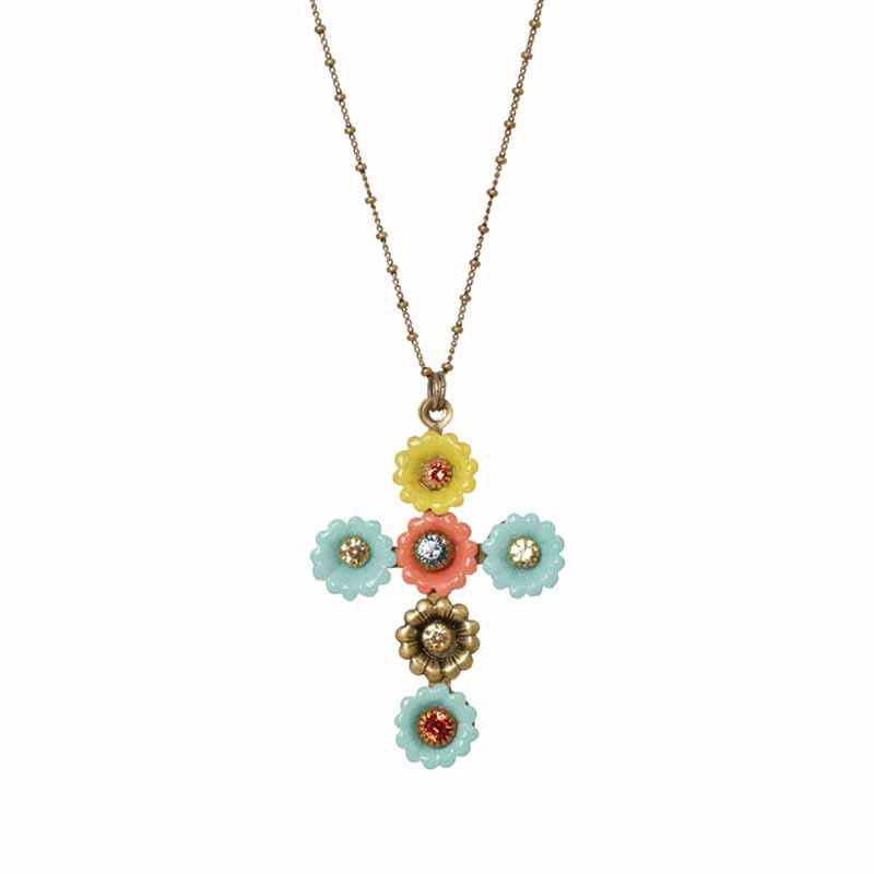 Pastel Floral Cross Necklace