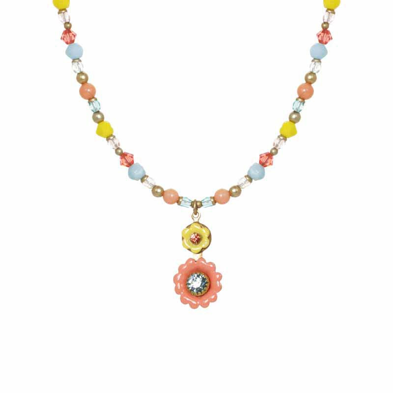 Pastel Pink and Yellow Floral Necklace