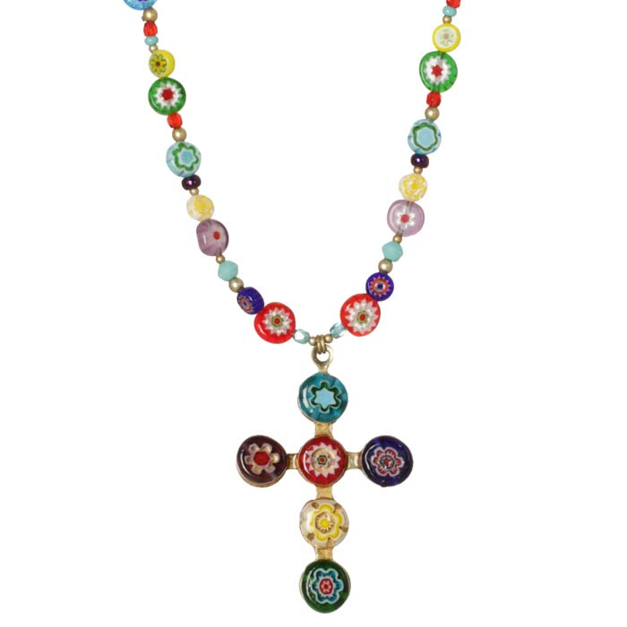 Multicolor Millefiori Bead Cross Necklace