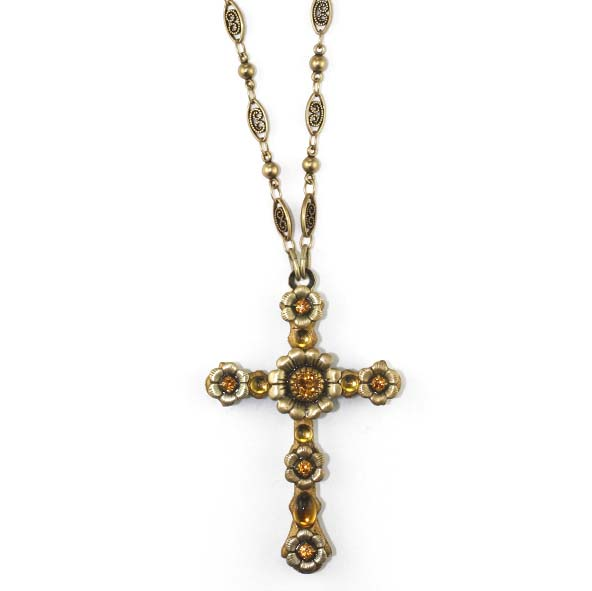 Golden Floral Cross