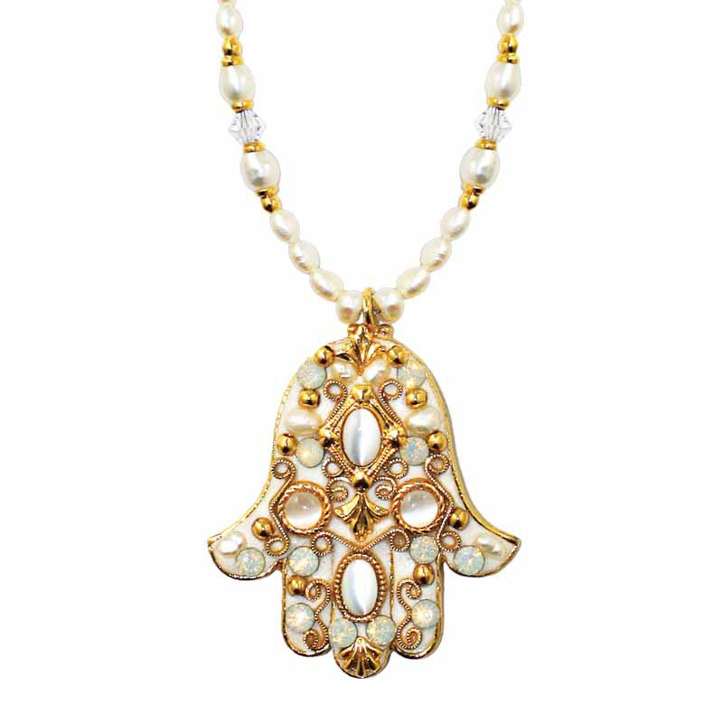 Medium Pearl and Gold Hamsa Necklace