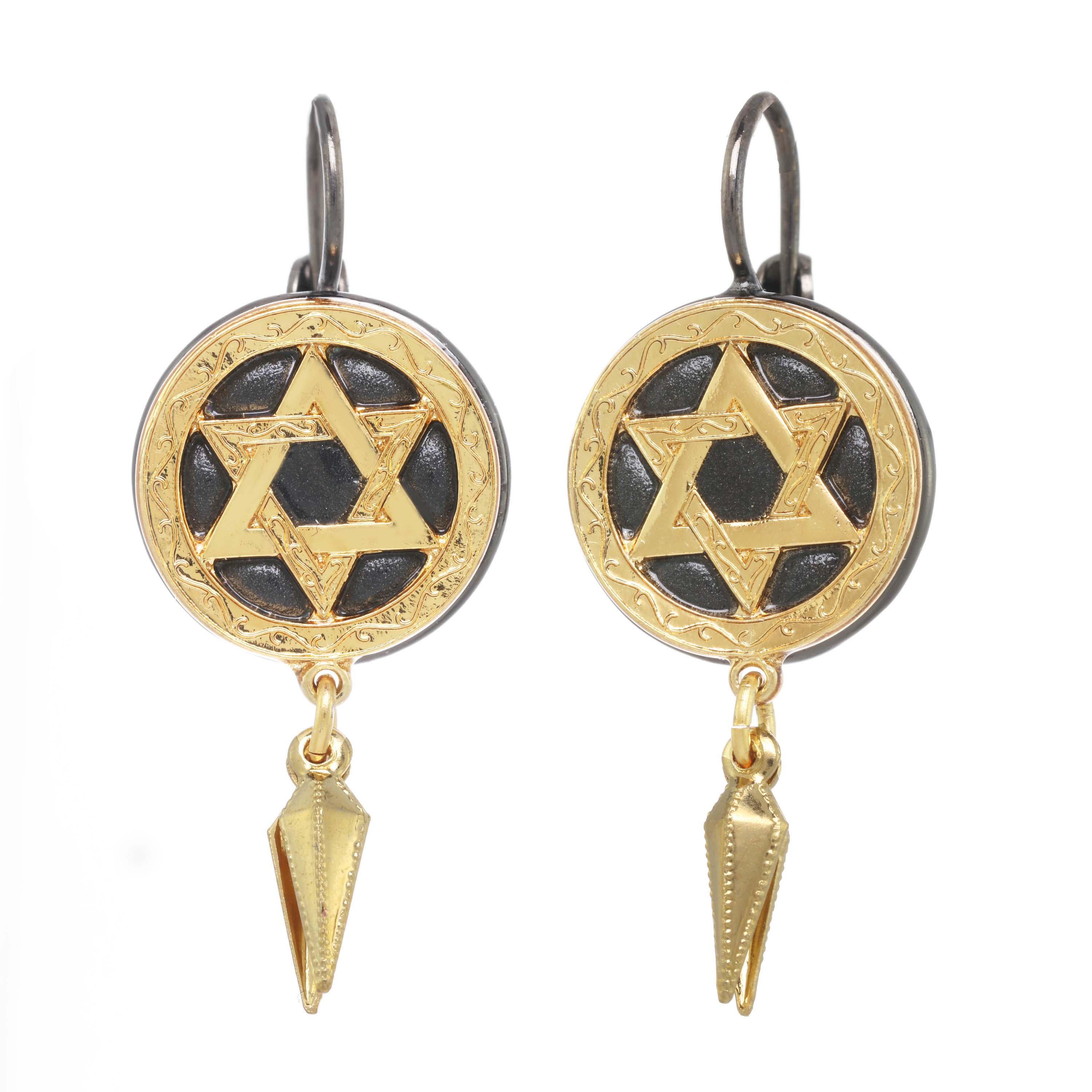 Black and Gold Star of David Earrings