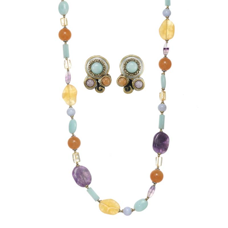 Mojave Beaded Necklace and Clip Earrings Set