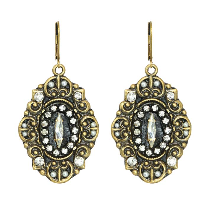 Art Deco Dark Oval Earrings