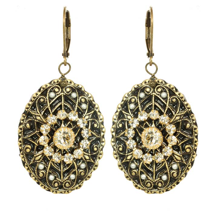 Art Deco Oval Earrings