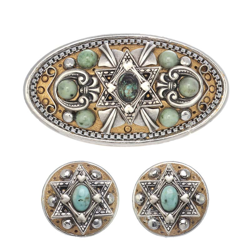 Turquoise Judaica Earrings and Brooch Set
