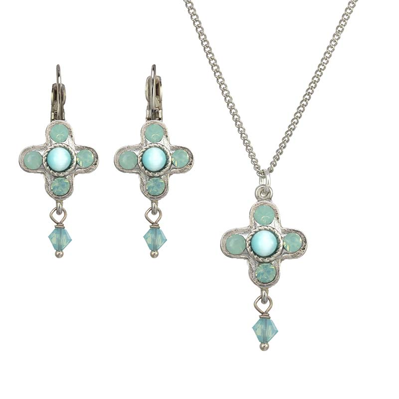 Cat's Eye Flower Necklace and Earrings Set