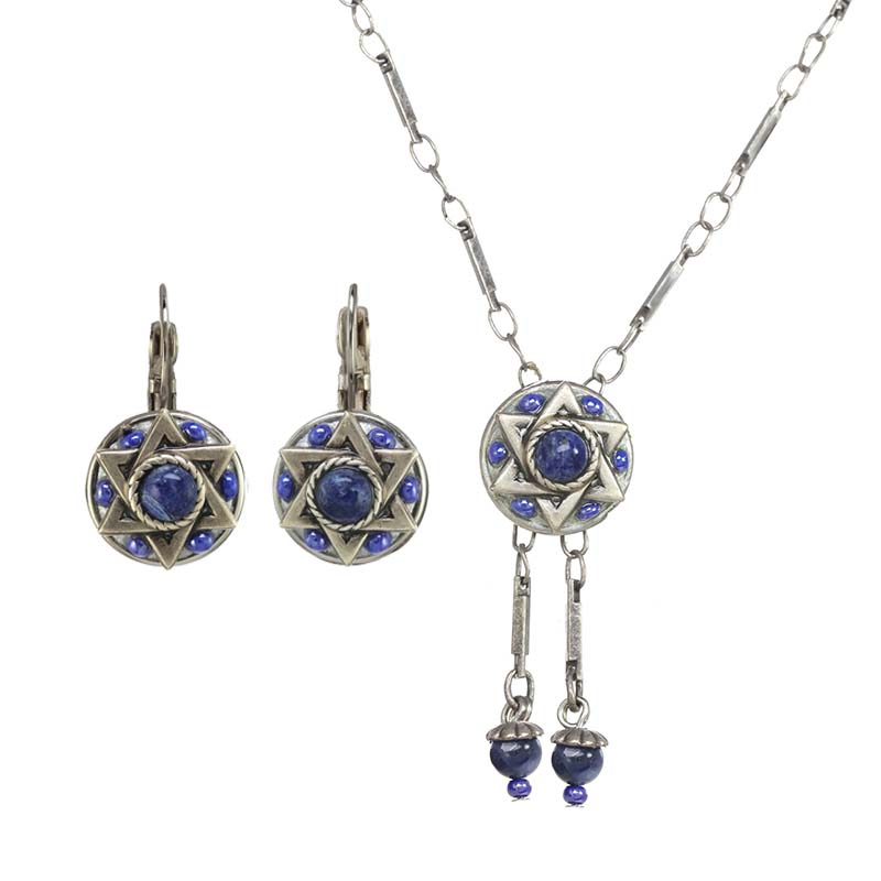 Deep Blue Star of David Necklace and Earrings Set