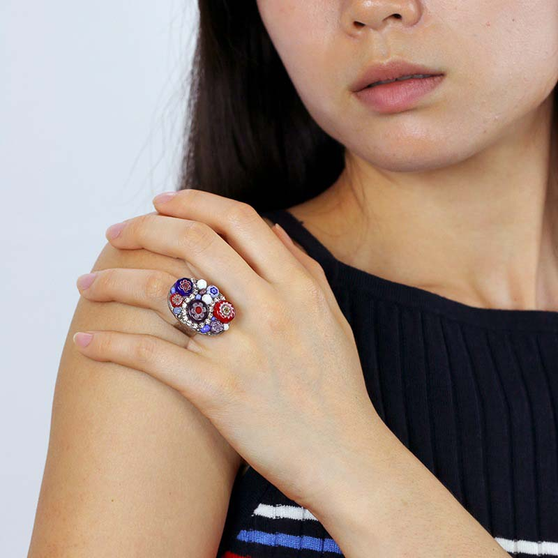 Oval Blue and Red Millefiori Bead Ring