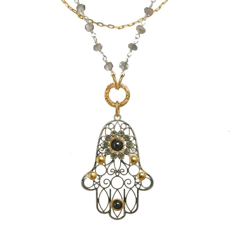 Silver and Gold Filigree Hamsa Necklace