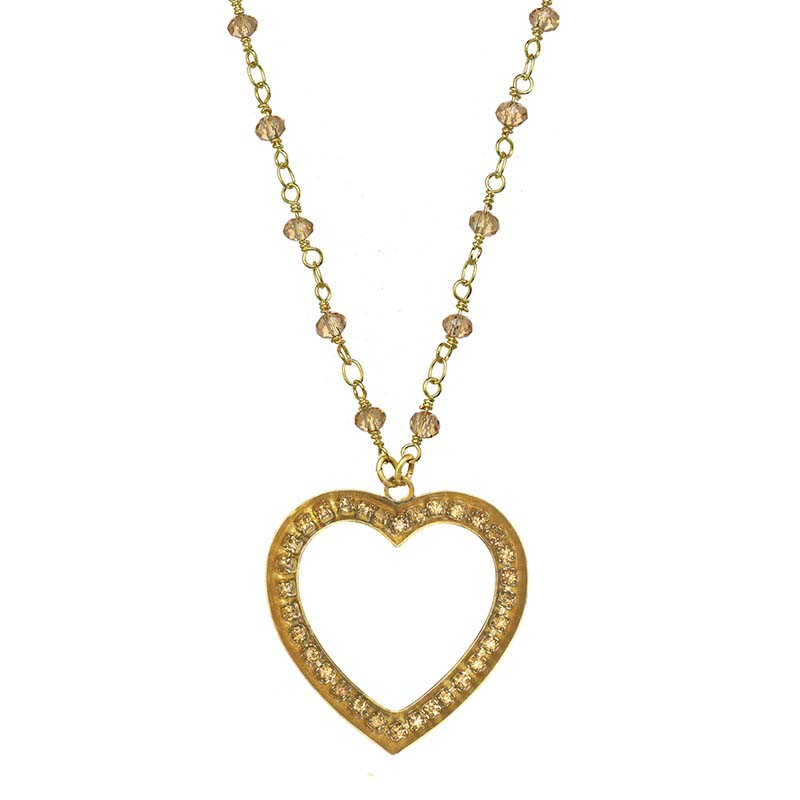 Gold Glitter Heart Necklace