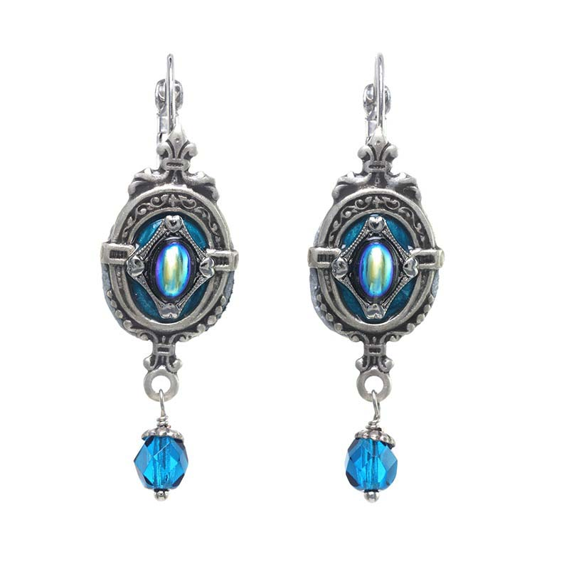 Deep Aqua Shield Earrings