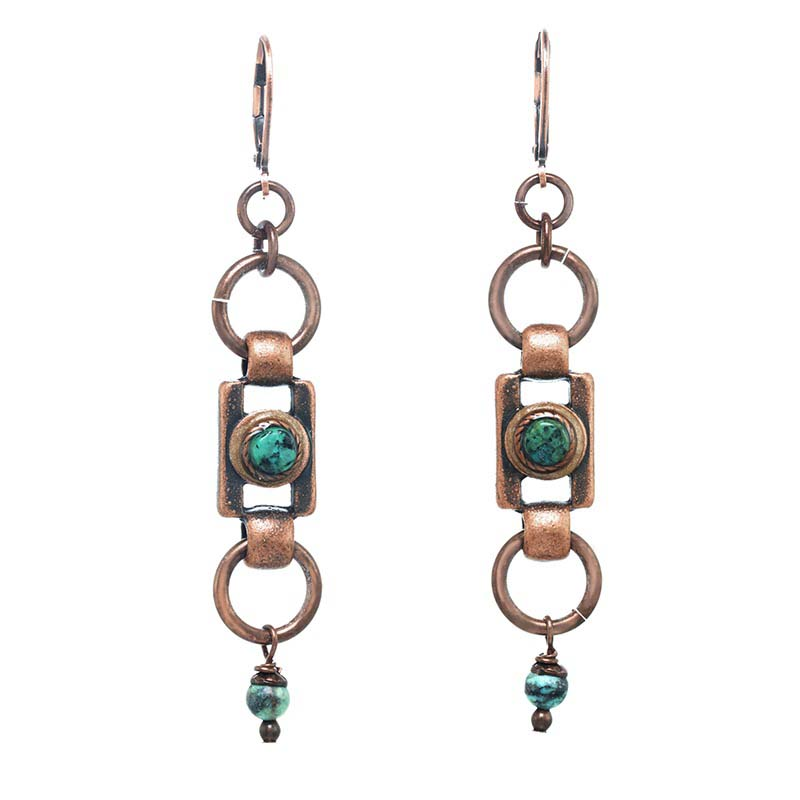 Copper Turquoise Dangling Earrings