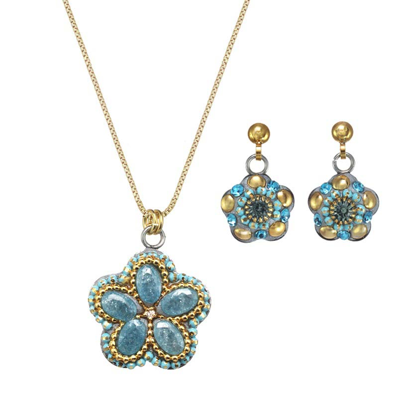 Turquoise and Gold Flower Necklace and Earrings Set