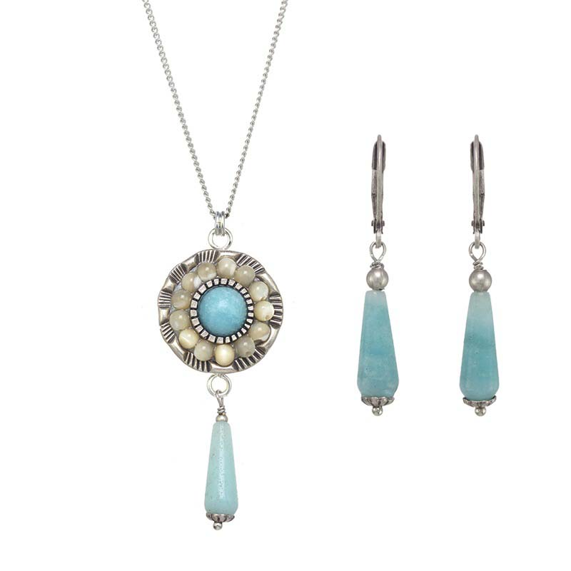 Amazonite Flower Necklace and Earrings Set